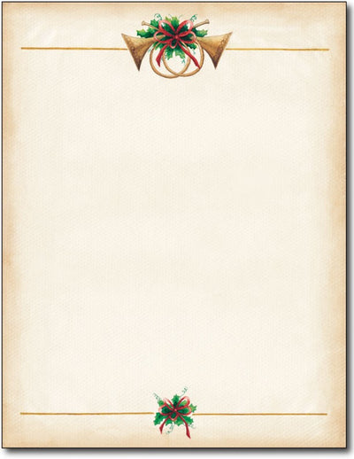 "24 lb Antique Horns Christmas Stationery,measure(8 1/2"" x 11""), compatible with inkjet and laser"
