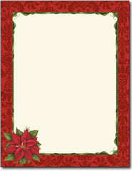60lb Poinsettia Damask Letterhead Sheets, measure ( 8.5 X 11) , compatible with inkjet and laser