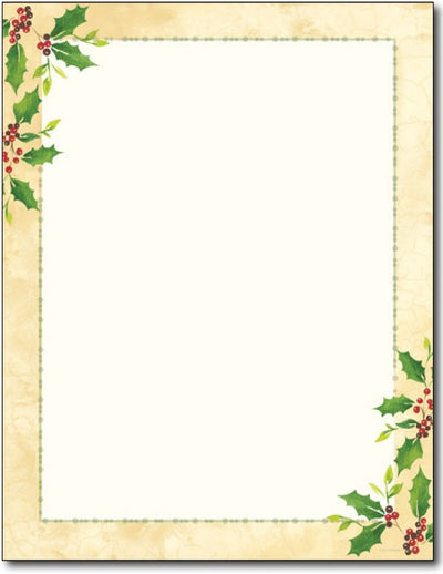 60 lb Falling Holly Christmas / Holiday Stationery Paper, measure(8.5 X 11), compatible with copier, inkjet and laser