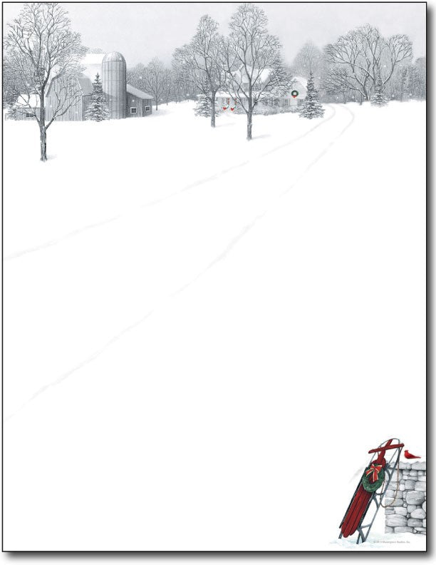 "60lb Winter Scene & Sled Letterhead Sheets,  measure (8 1/2"" x 11"") , compatible with inkjet and laser"