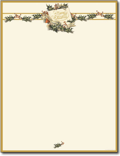 24 lb Vintage Christmas Holly Letterhead, measure(8.5 X 11), compatible with copier, inkjet and laser, matte both sides