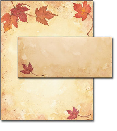 Falling Leaves Letterhead & Envelopes - 40 Sets, Inkjet and Laser Printer Compatible