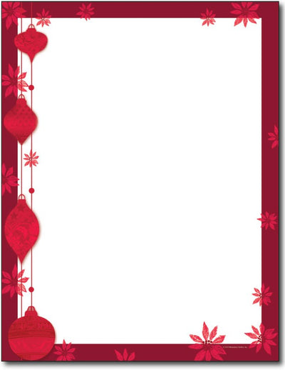 60lb Painted Poinsettia Letterhead Sheets, measure (8.5 X 11) , compatible with inkjet and laser