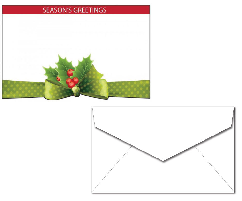 Holiday Letterhead with Envelope - Holly & Bow