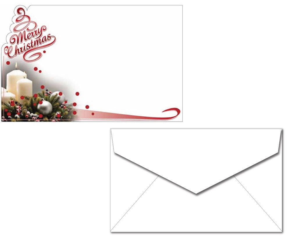 Holiday Letterhead with Envelopes - Christmas Candle