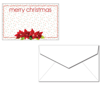 Holiday Letterhead with Envelopes - Poinsettia Merry Christmas