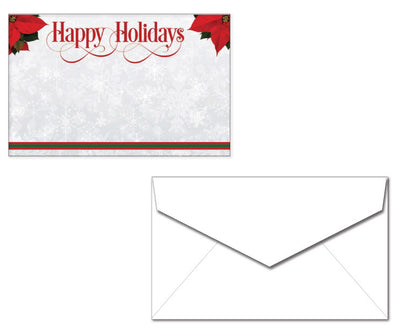 Christmas Stationery with Envelopes - Poinsettia Happy Holidays