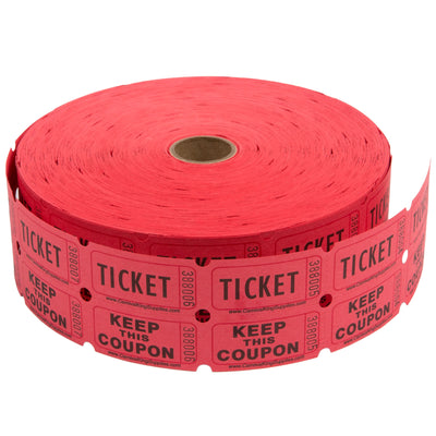 Red Raffle Tickets -&nbspNumbered Pieces - Twin Ticket Attached