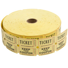 Yellow Raffle Tickets -&nbspNumbered Pieces - Twin Ticket Attached