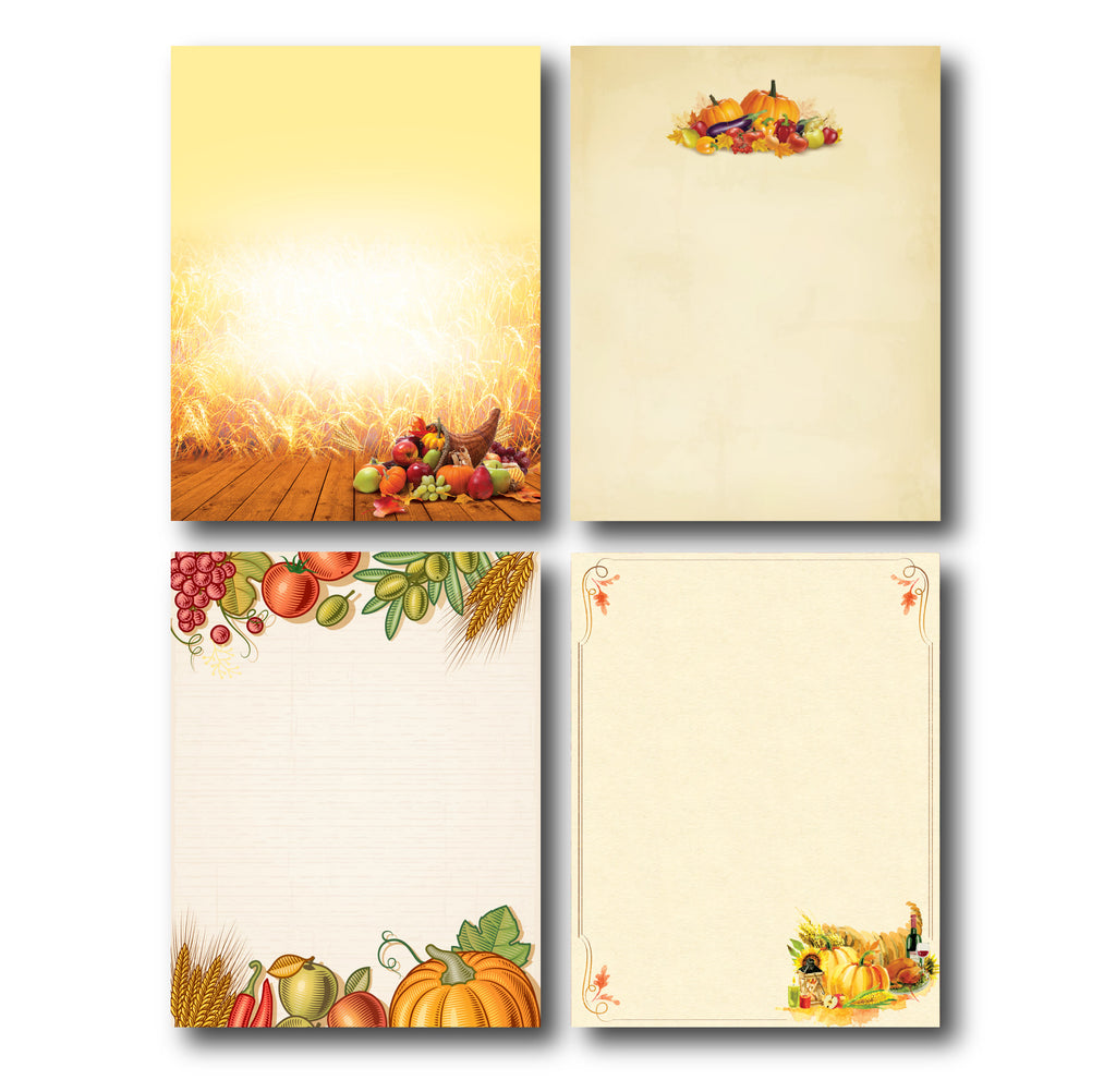 4 Autumn Designs (Fall Stationery) - Variety Pack 1