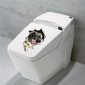 3D Dog Toilet Seat Sticker