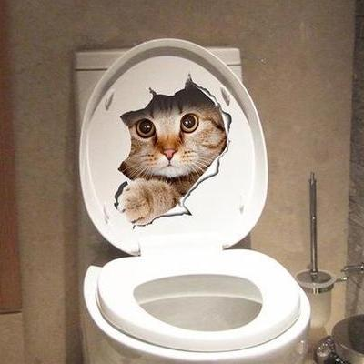 3D Cat Toilet Seat Sticker