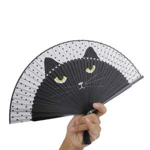 Cartoon Cat Folding Silk Fan
