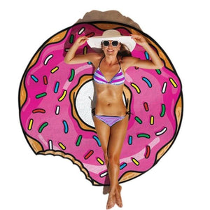 Gigantic Doughnut Beach Towel Blanket-Give Crazy