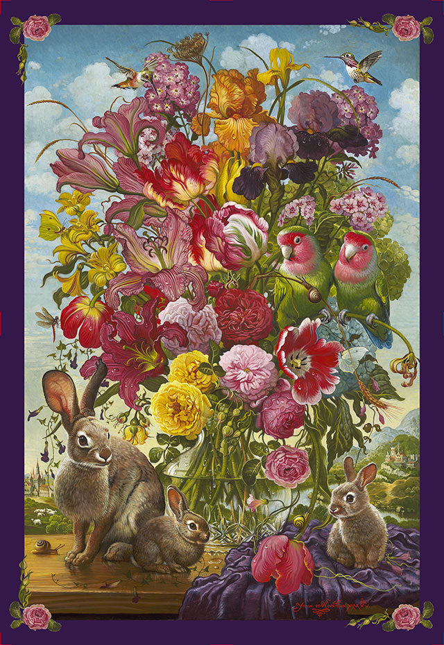 Floral with Bunnies