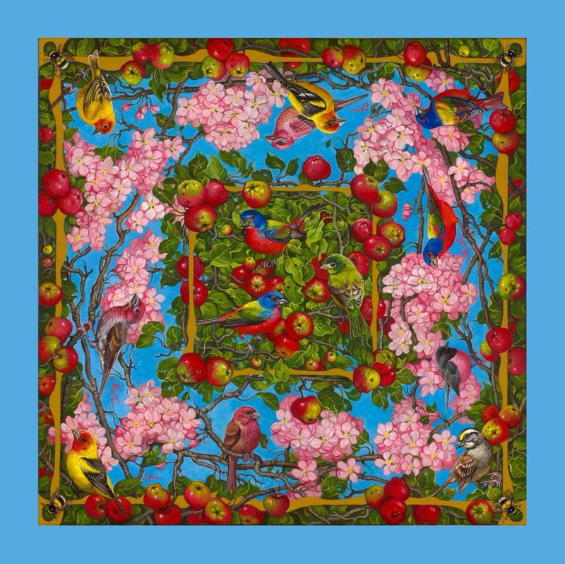 Apple Blossoms with Birds with a Light Blue Border