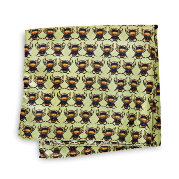 Bees on Green Pocket Square