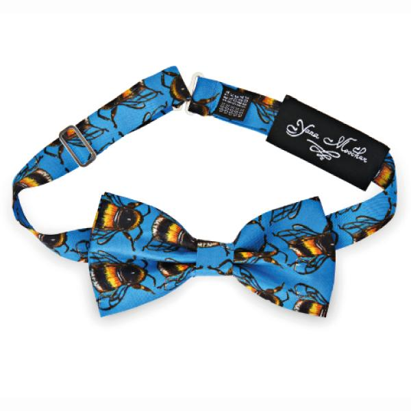 Bees on Blue Bow Tie