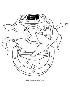 Two Koi Fish Colouring Page- Digital Download