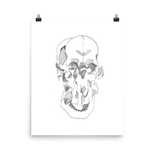 Load image into Gallery viewer, Exploded Skull Matte Print (black line)