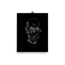 Load image into Gallery viewer, Exploded Skull Matte Print (white line)