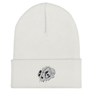 Cat Skull Embroidered Cuffed Beanie