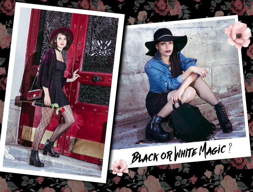chapeau fedora rouge bordeaux mode femme grunge rock gothique witch kimono velours capeline noire witch crop top jeans à volants