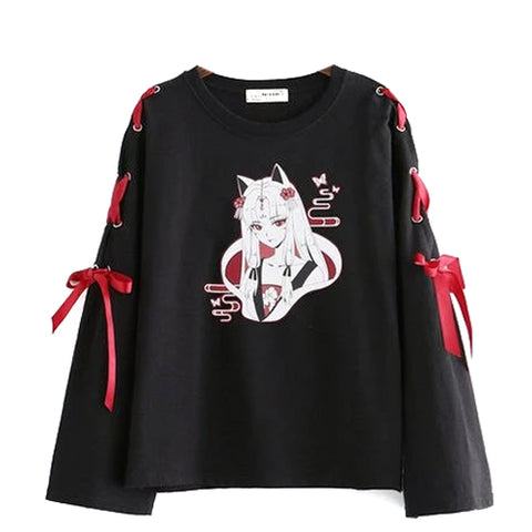 Sweatshirt grunge noir/blanc imprimé et ruban rouge manches - Top - THE FASHION PARADOX