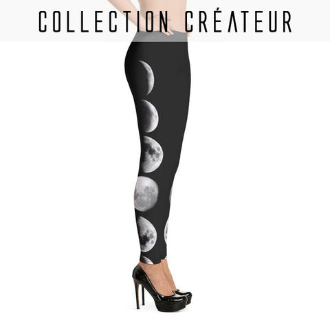 Leggings noir imprimé phases lunaires, croissants de lune - Leggings et collants - THE FASHION PARADOX