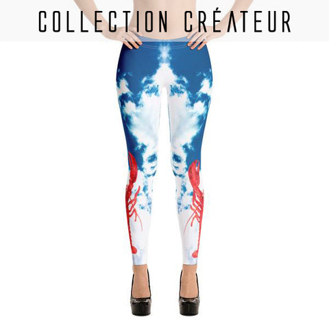 Leggings imprimé ciel bleu, nuages et homards rouges - Leggings et collants - THE FASHION PARADOX