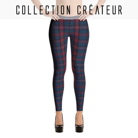 Leggings imprimé carreaux Tartan bleu nuit et bordeaux - Leggings et collants - THE FASHION PARADOX