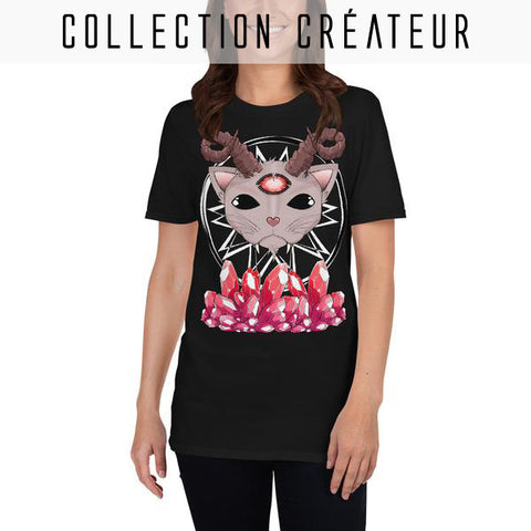 T-shirt dark grunge witch motif Evil Cat et rubis