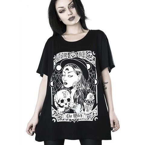 T-shirt oversize noir motif witch goth rock