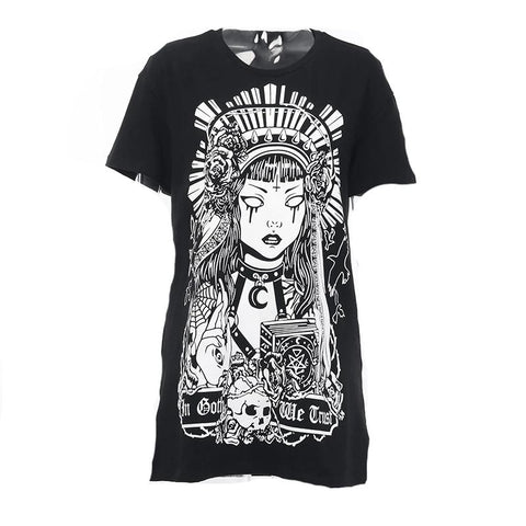 T-shirt noir long grunge rock witch motif blanc femme ethnique - T-Shirts - THE FASHION PARADOX