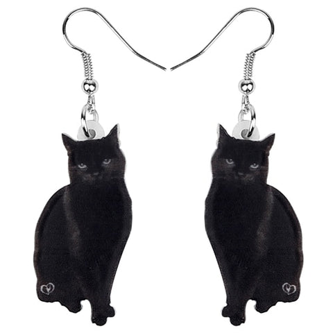 Boucles d'oreille chats noirs witchcraft dark goth