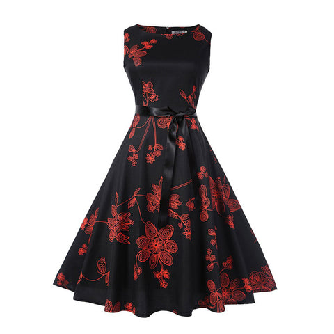 Robe vintage rétro pinup imprimée floral fleurs rouges - Robes - THE FASHION PARADOX