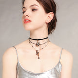Collier triple ras du cou choker étoiles strass soleil perles witch - BIJOUX - THE FASHION PARADOX