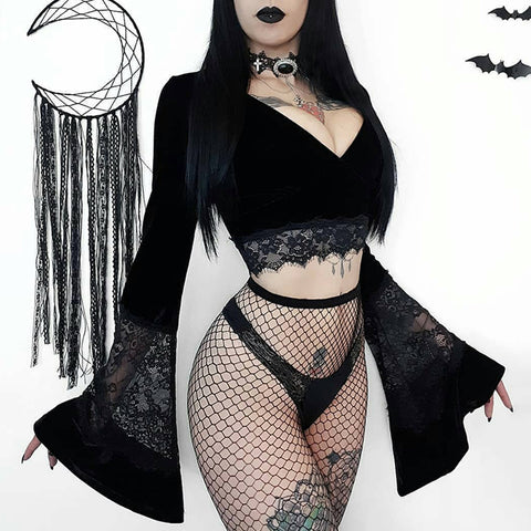 Crop top noir goth witch manches évasée velours dentelle - Top - THE FASHION PARADOX