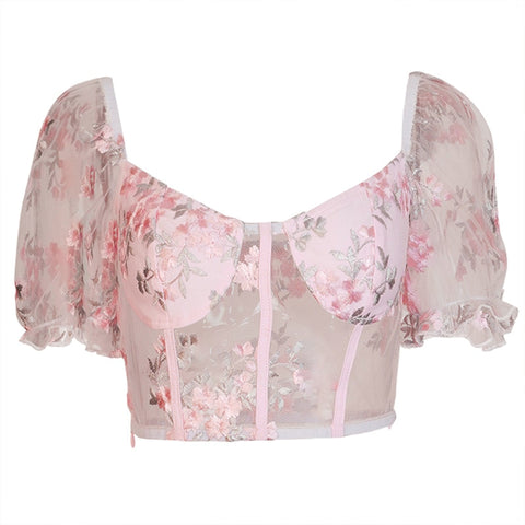 Crop top rose en tulle broderies florales manches ballon