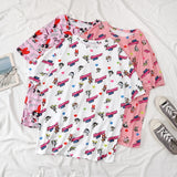 T-shirt coloré super nanas kawaii rétro cartoon rose bleu