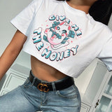 T-shirt court crop top blanc motif chat kawaii soft girl egirl