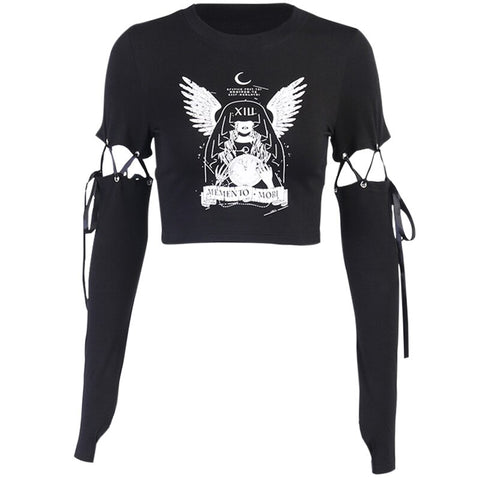 Crop top noir gothique grunge memento mori laçages