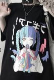 T-shirt large coupe droite motif manga anime e-girl coloré