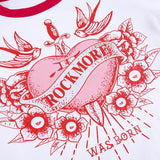 Crop top y2k blanc motif imprimé rock more coeur rouge et rose