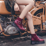 Bottines pastel goth noir blanche bordeaux simili cuir