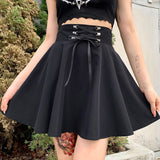 Jupe taille haute patineuse noire gothique dark witch