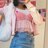 Crop top en voile petit haut rose à superposer Y2K kawaii soft girl