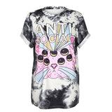 T-shirt graphique imprimé anti-social grunge motif placé - T-Shirts - THE FASHION PARADOX
