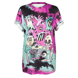 T-shirt pastel goth graphique imprimé grunge motif placé - T-Shirts - THE FASHION PARADOX