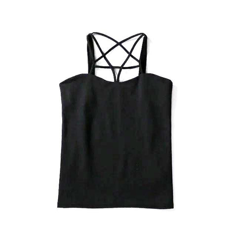 Top ou crop top noir moulant avec pentagramme - Top - THE FASHION PARADOX